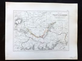 Alison & Johnston 1852 Battle Map of Valley of the Danube. Ratisbon to Presburg